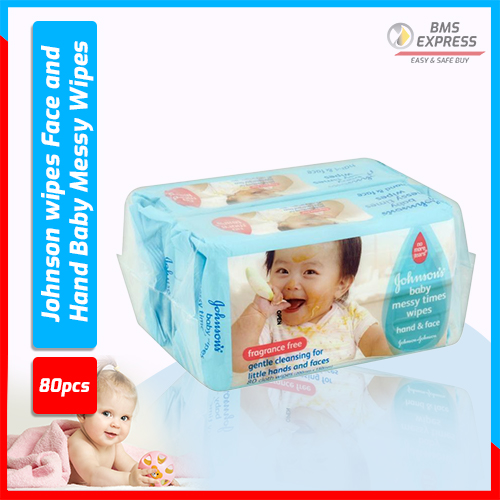 Johnson wipes Face and Hand Baby Messy Wipes-80 pcs -Taiwan