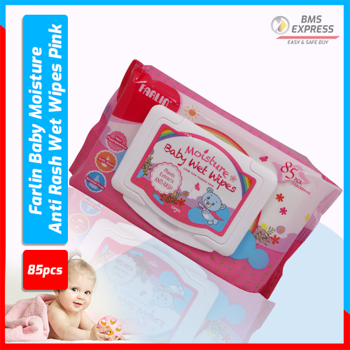 Farlin Baby Moisture Anti Rash Wet Wipes Pink - 85 Pcs