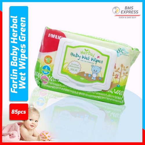 Farlin Baby Herbal Wet Wipes Green  - 85 Pcs