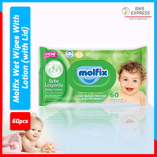 Molfix Wet Wipes With Lotion (with Lid) - 60 Pcs
